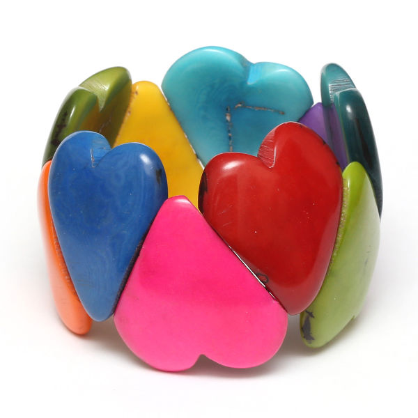 Colourful Tagua Bracelet with Heart-shaped elements