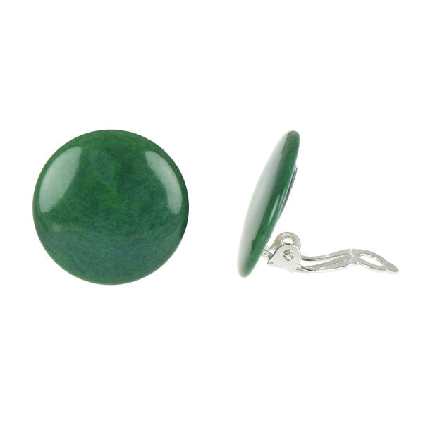 Green Tagua Disc Clip-on Earrings