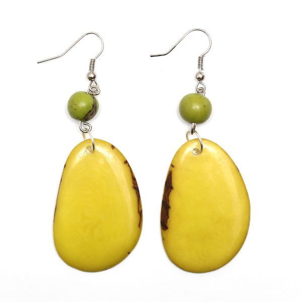Yellow irregular shaped Tagua Discs Earrings