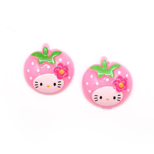 Baby pink kitty strawberry clip-on earrings