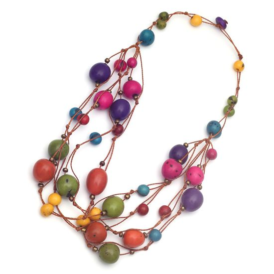 Handmade Colourful Tagua Nut and Acai Seed Cord Necklace